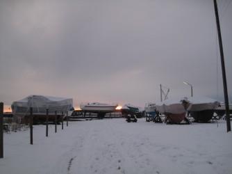 Nyord Hafen im Winter 2