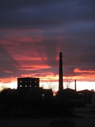Møn Lendemarke Alte Zuckerfabrik Abendsonne