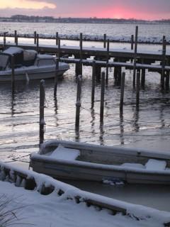 Bogø havn solnedgang i sne 111