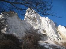 Møns Klint ved Graaryg Fald i sne 128