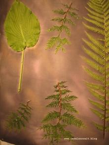 Blätterexperimente auf Stoff