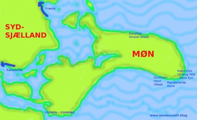 Møn Sydsjælland Karte 7 Strände