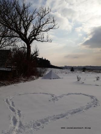 Winterbilder aus Dänemark Herz im Schnee